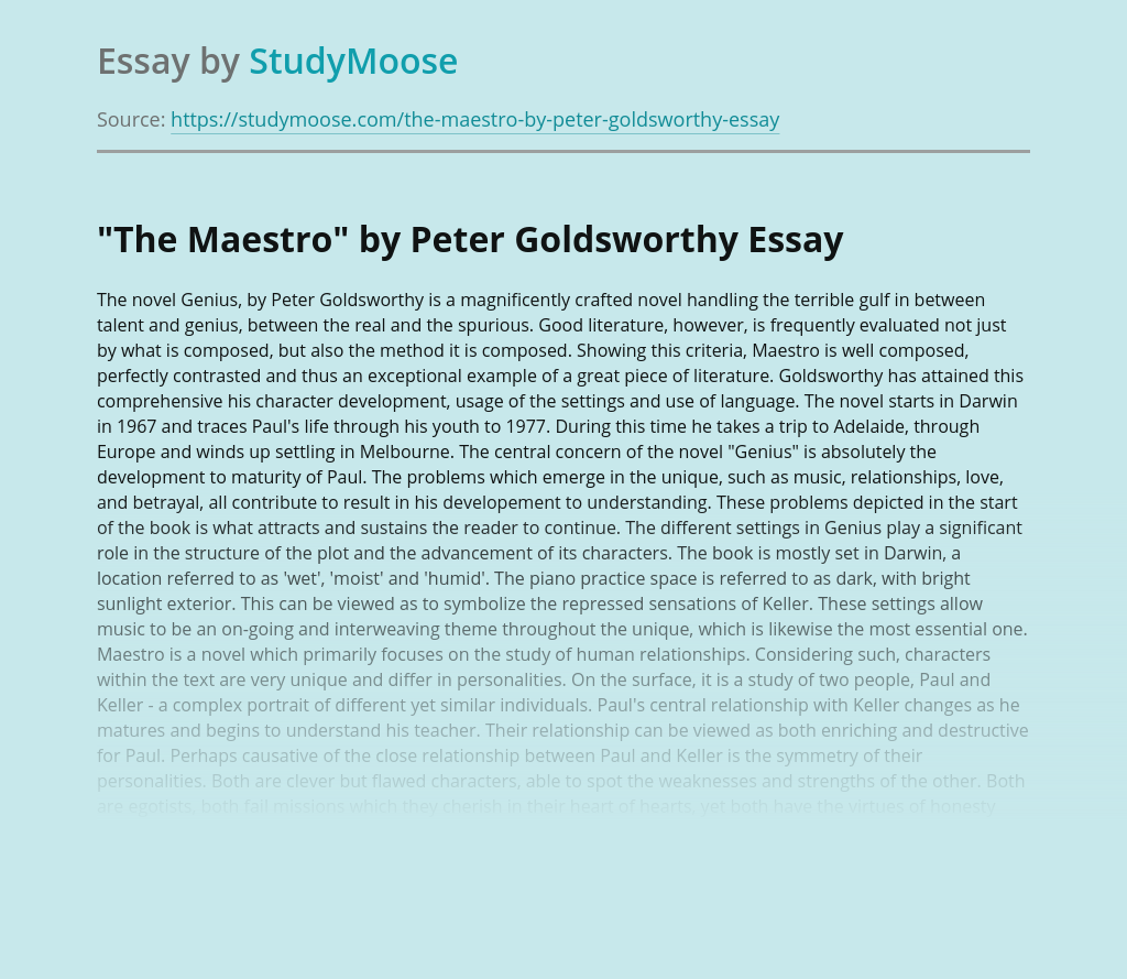 """""""The Maestro"""" by Peter Goldsworthy"""