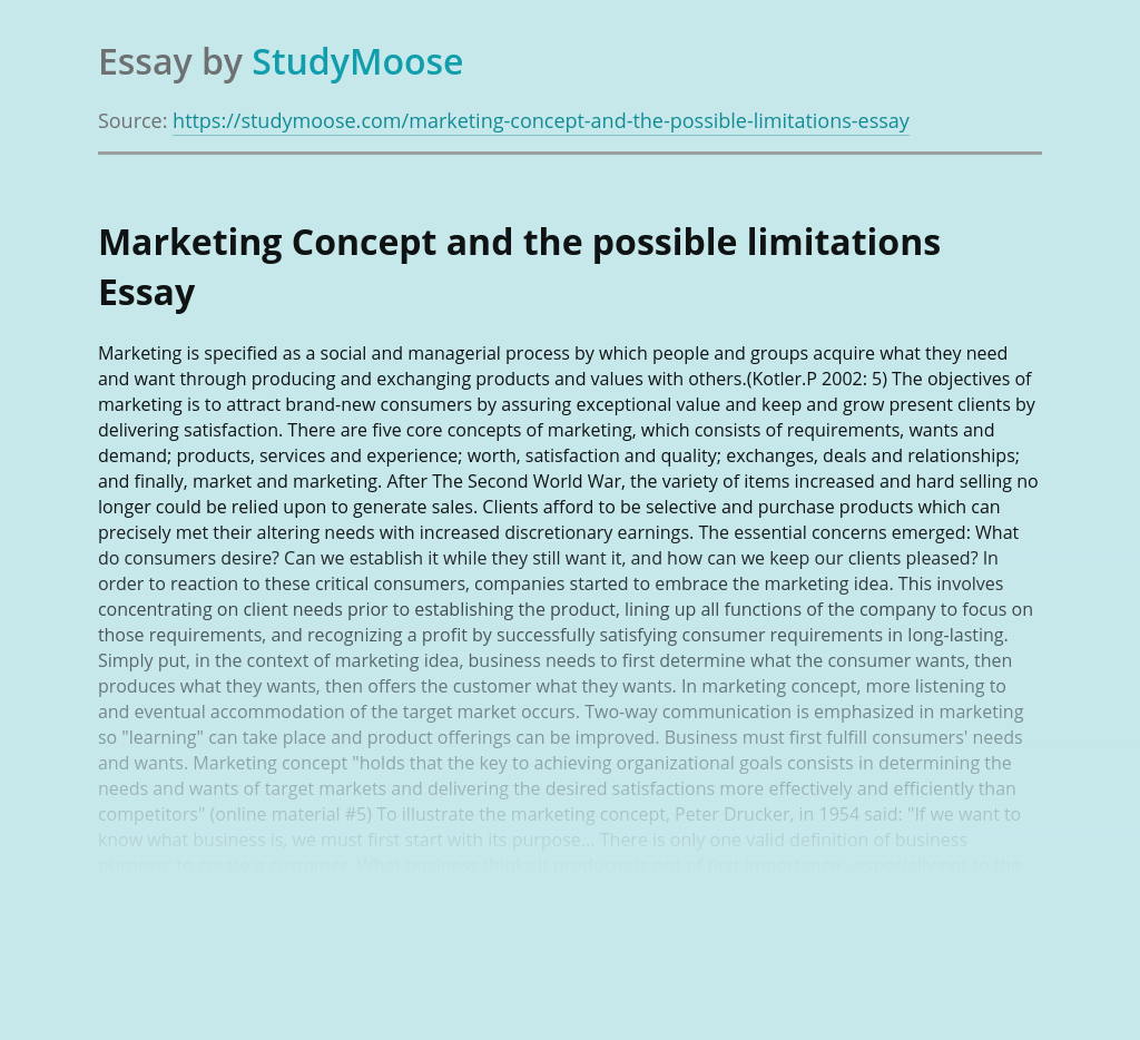 Marketing Concept and the possible limitations