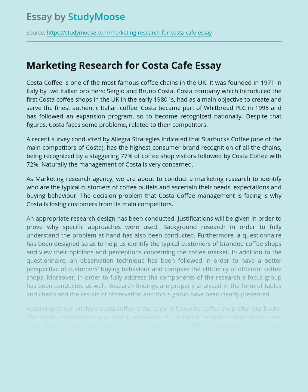 Marketing Research for Costa Cafe