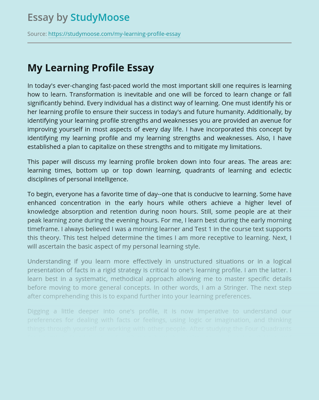 My Learning Profile