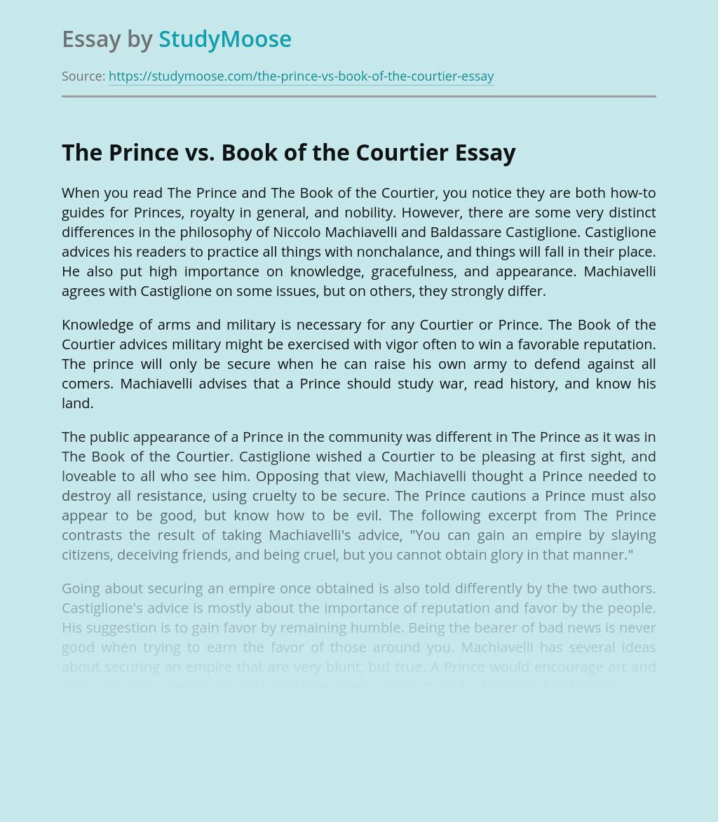 Comparison of Machiavelli's and Castiglione's Books