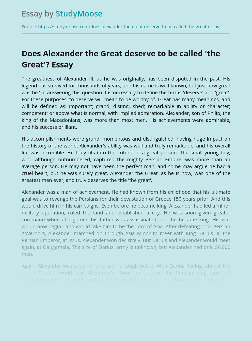 Does Alexander the Great deserve to be called 'the Great'?