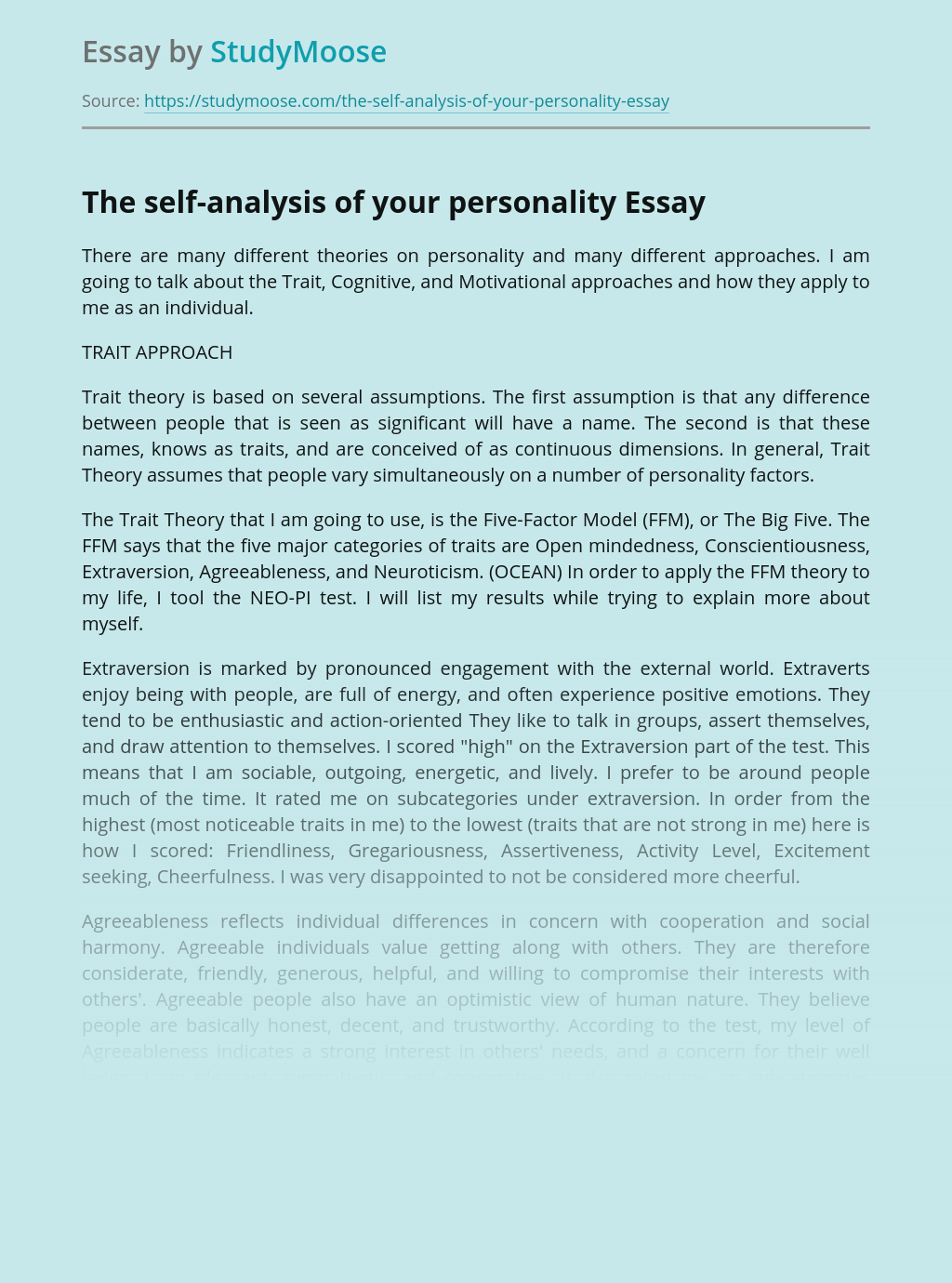 The self-analysis of your personality