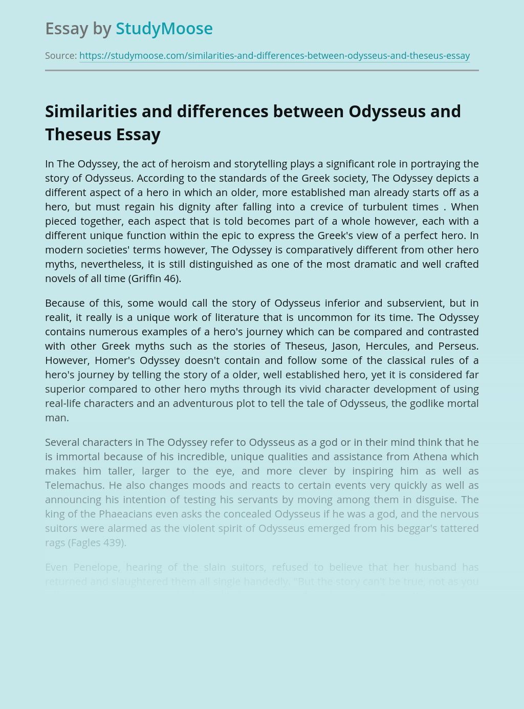 Similarities of Odysseus and Theseus Character Traits