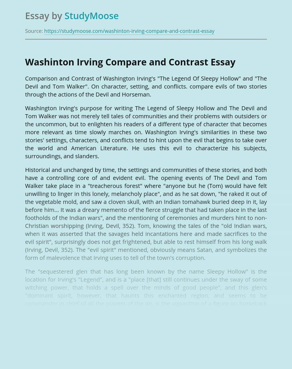 Washinton Irving Compare and Contrast