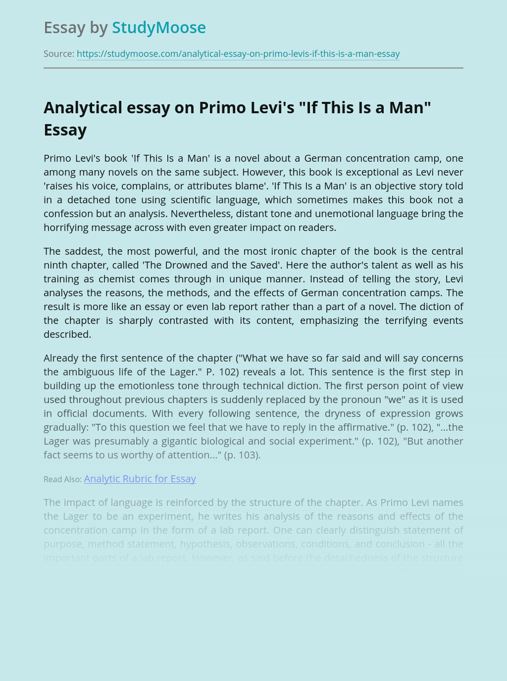 """Analytical essay on Primo Levi's """"If This Is a Man"""""""
