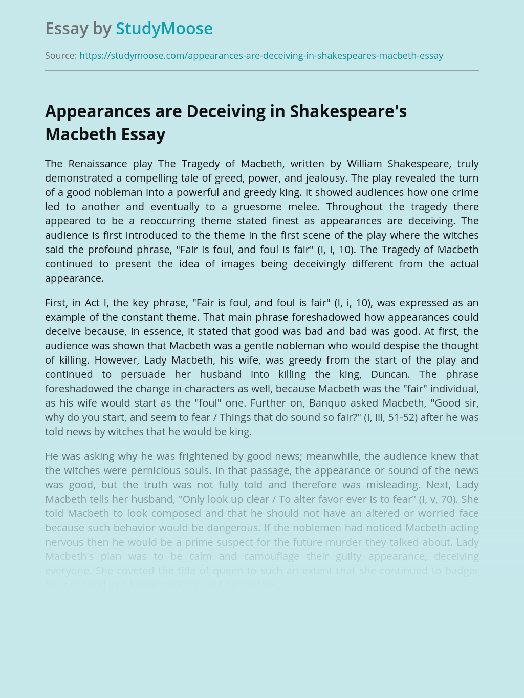 Appearances are Deceiving in Shakespeare's Macbeth