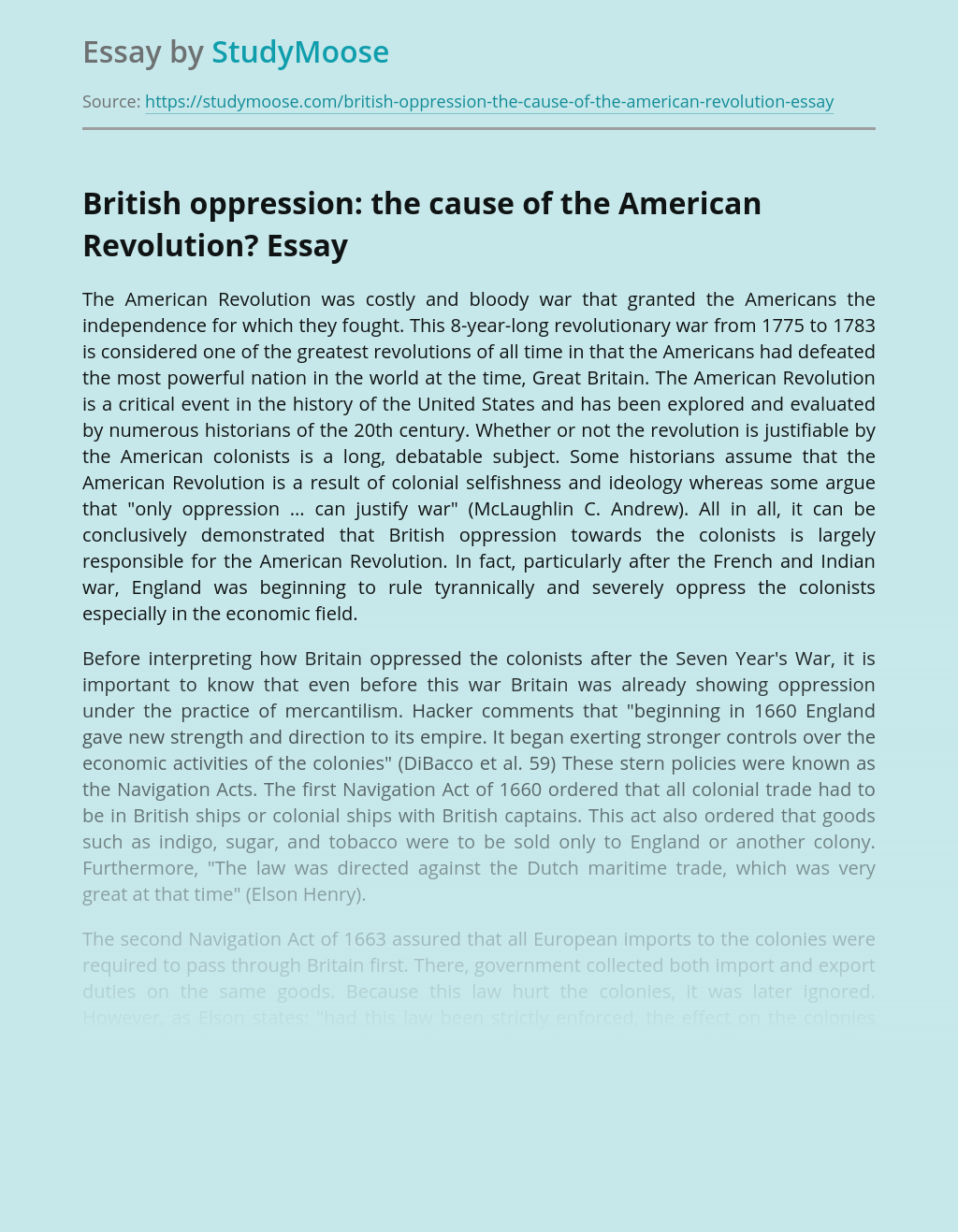 British oppression: the cause of the American Revolution?