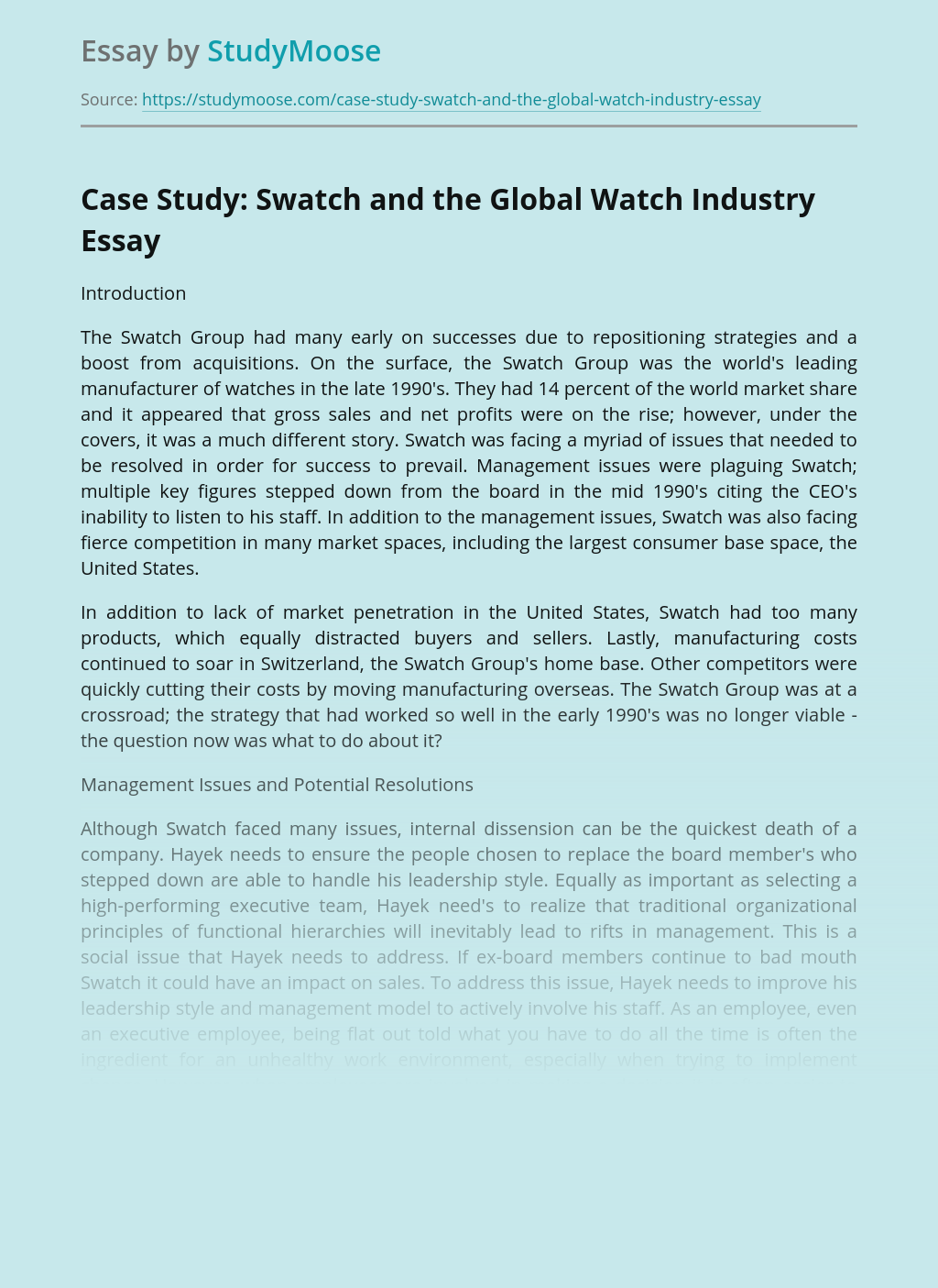 Case Study: Swatch and the Global Watch Industry