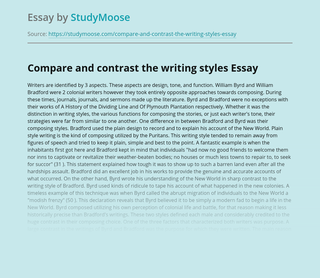 Compare and contrast the writing styles