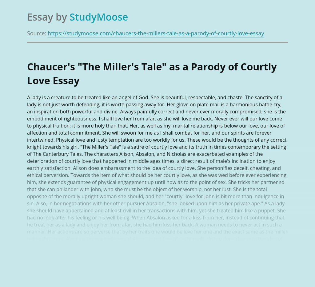 """""""The Miller's Tale"""" as a Parody of Courtly Love"""