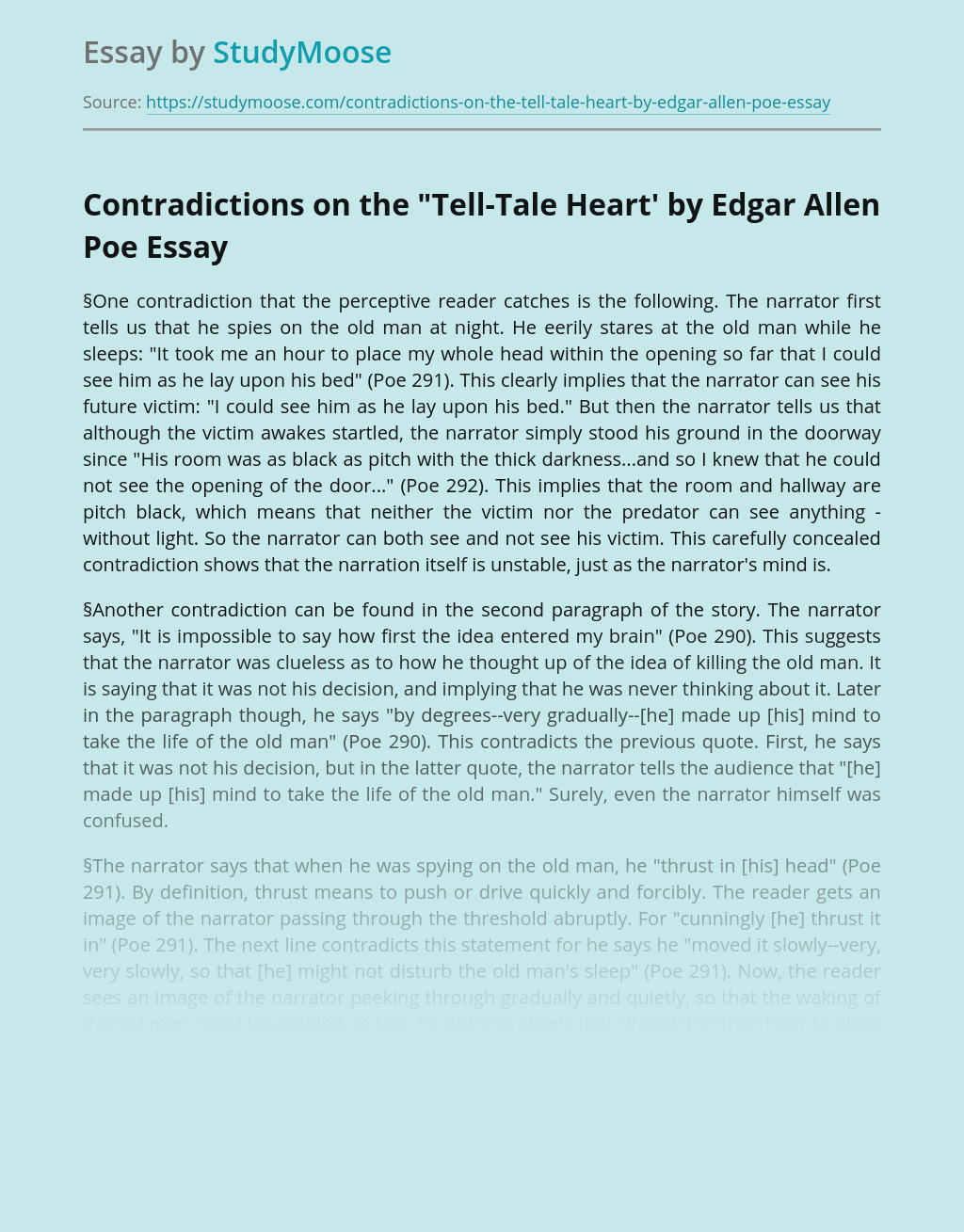"""Contradictions on the """"Tell-Tale Heart' by Edgar Allen Poe"""