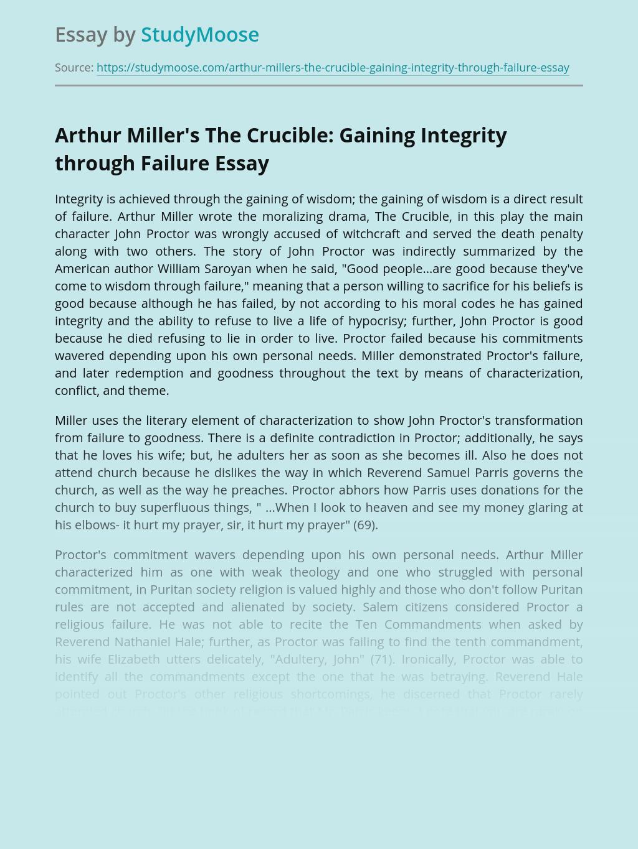 Arthur Miller's The Crucible: Gaining Integrity through Failure