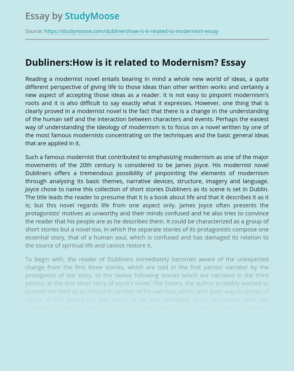 Dubliners:How is it related to Modernism?