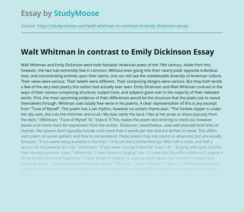 Walt Whitman in contrast to Emily Dickinson