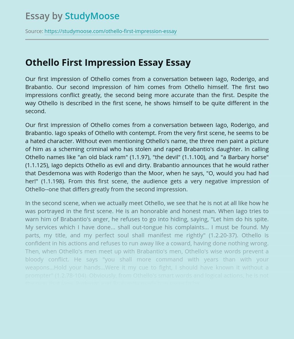 Othello First Impression Essay