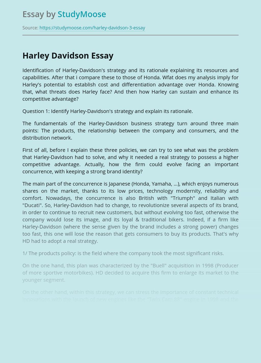 Analysis of Harley Davidson vs Honda Business Strategy