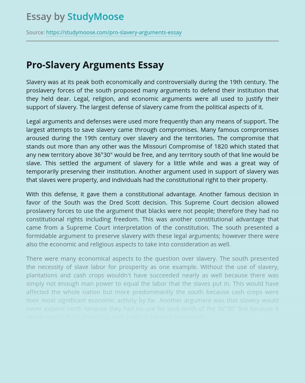 Pro-Slavery Arguments