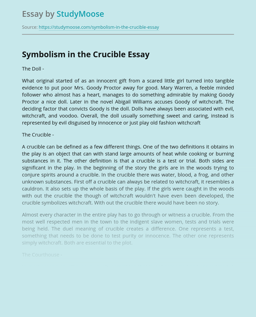 Symbolism in the Crucible