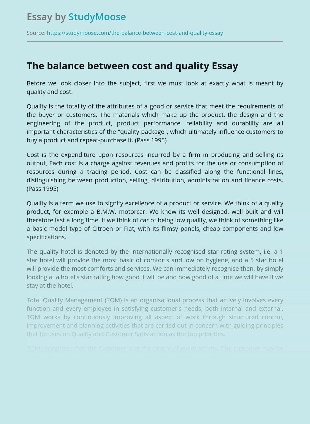 The Balance Between Cost and Quality Of Product