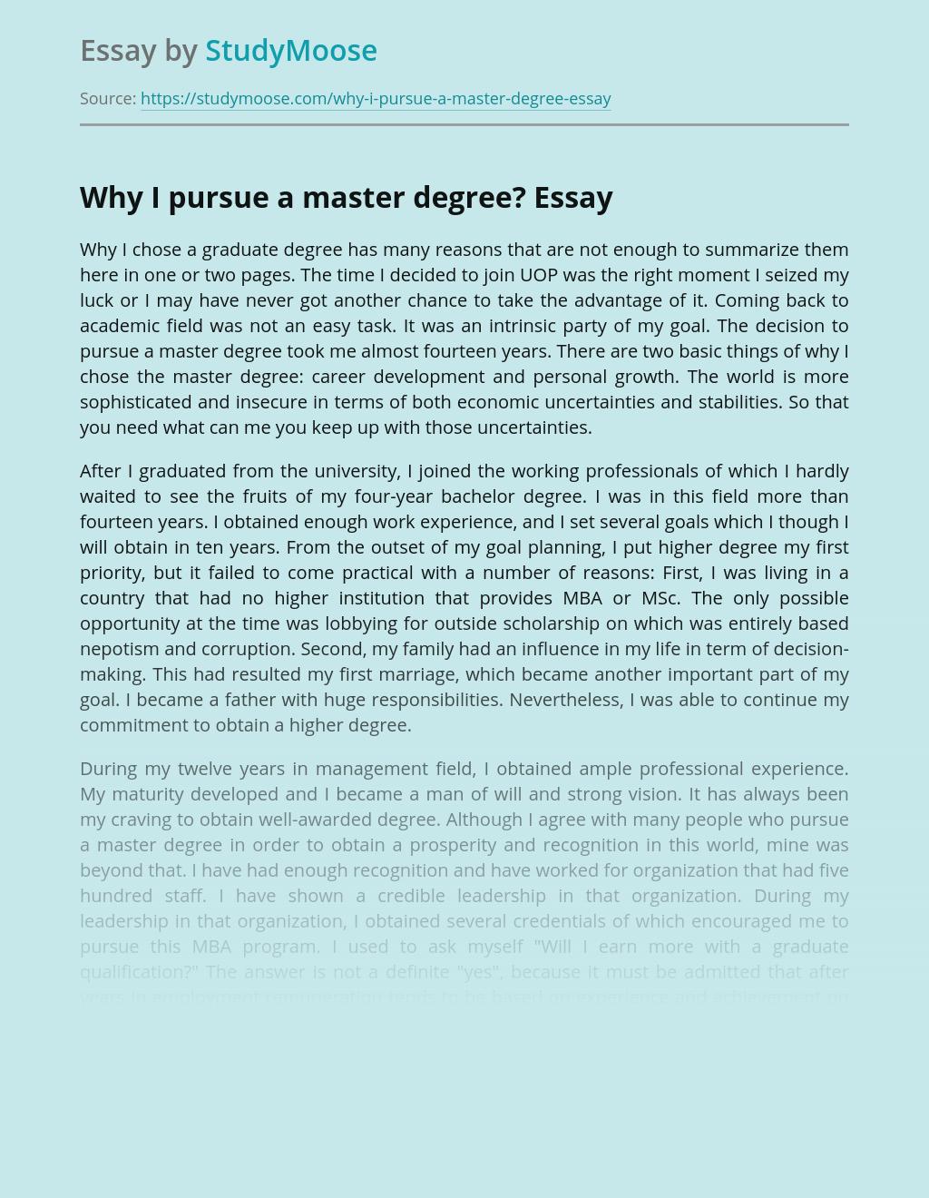 Why I pursue a master degree?