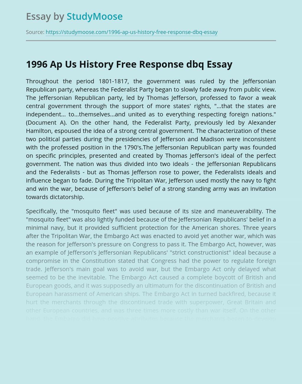 1996 Ap Us History Free Response dbq