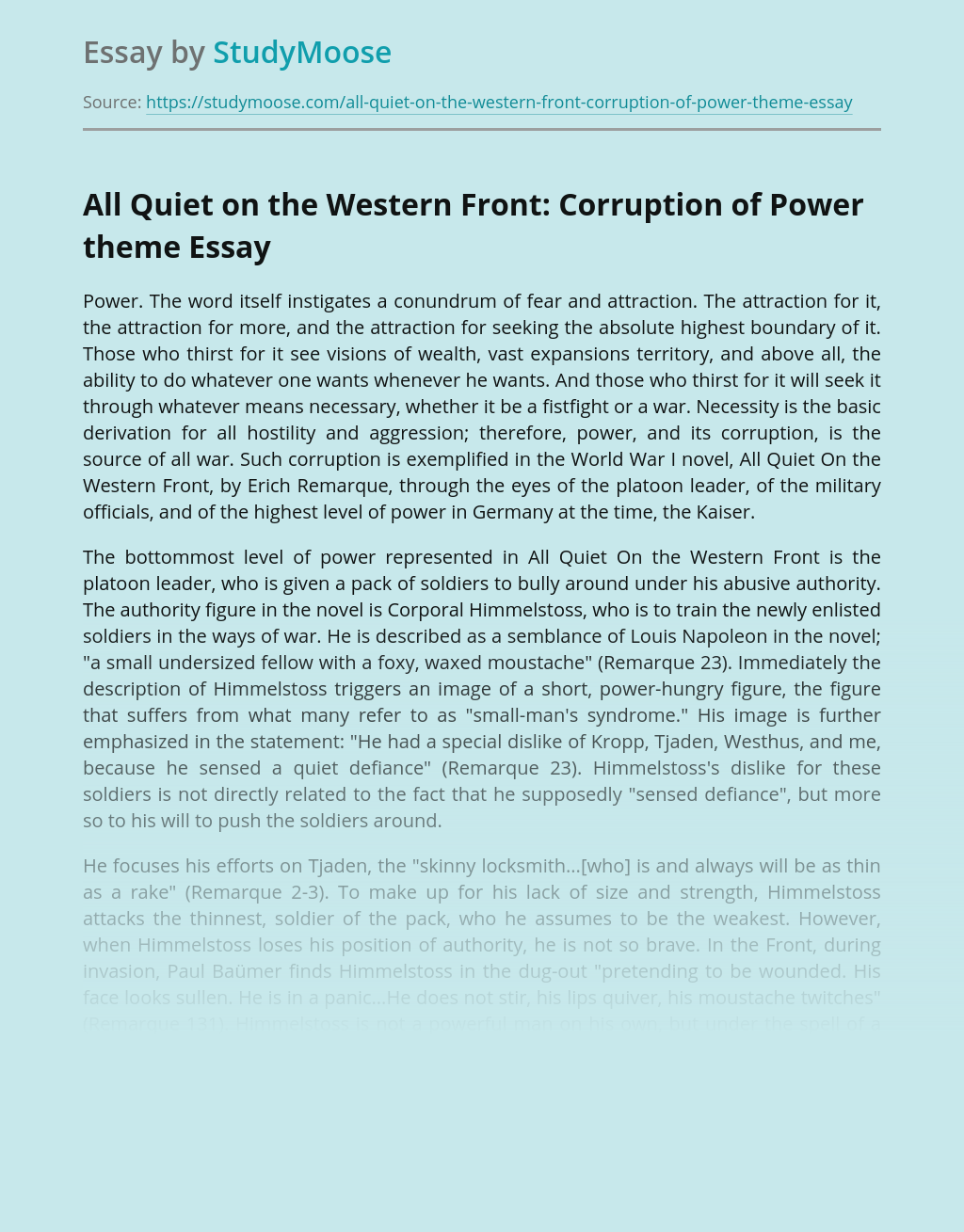 All Quiet on the Western Front: Corruption of Power theme