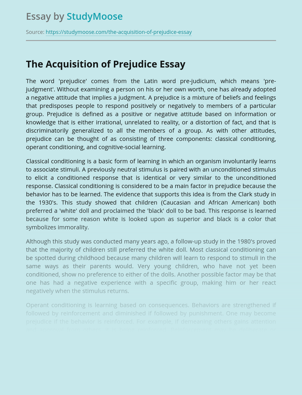 Acquisition of Prejudice as Social Issue