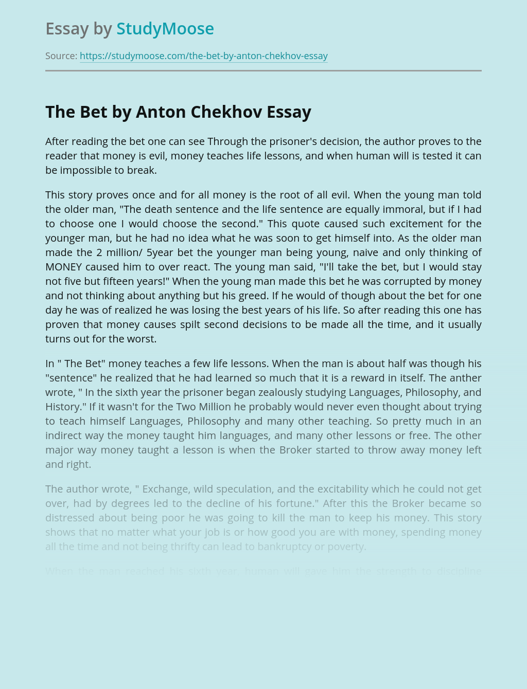 Life Lessons in Anton Chekhov's The Bet