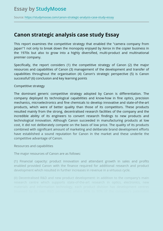 Canon strategic analysis case study