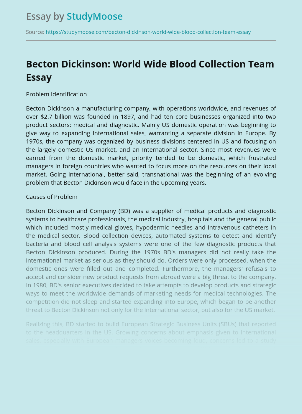 Becton Dickinson: World Wide Blood Collection Team