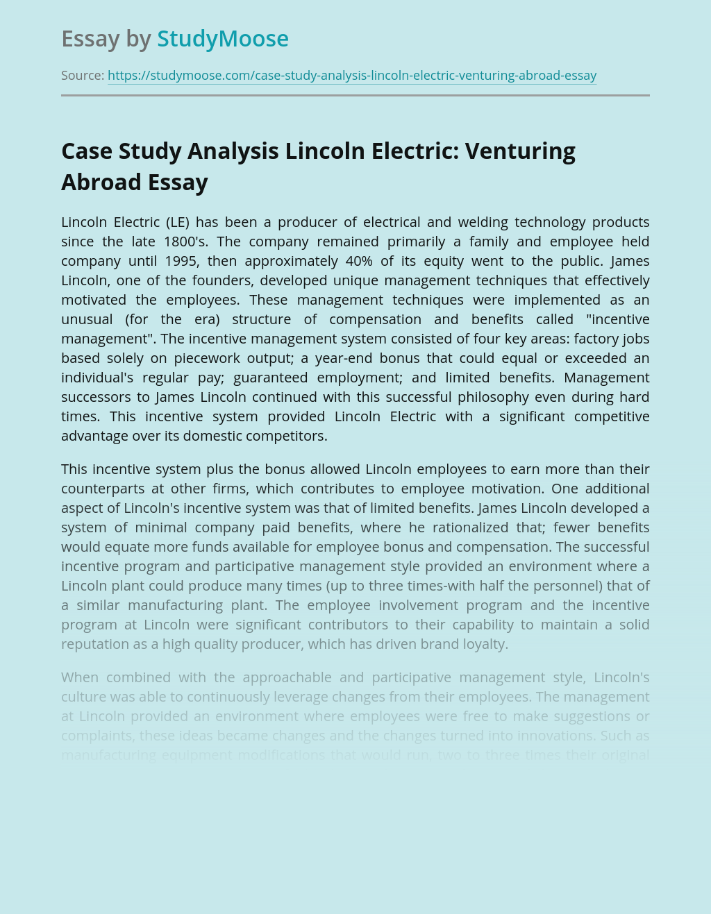 Case Study Analysis Lincoln Electric: Venturing Abroad