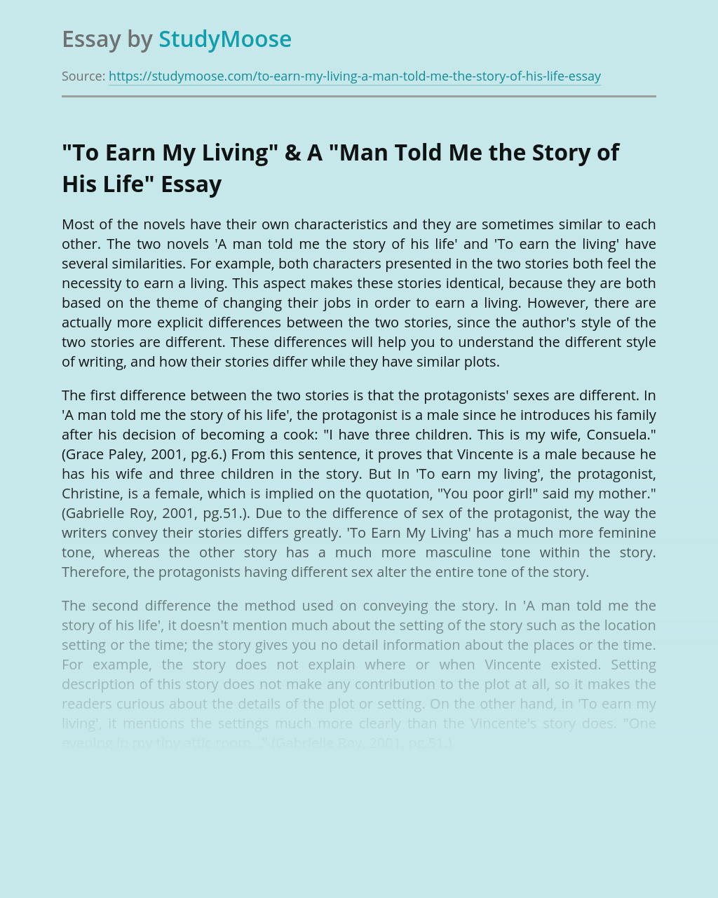 """""""To Earn My Living"""" & A """"Man Told Me the Story of His Life"""""""