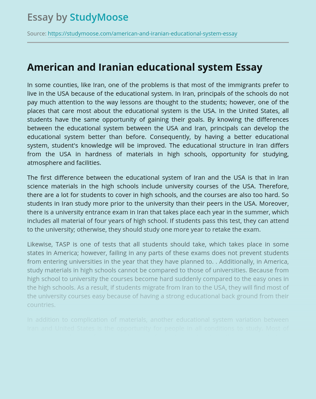 American and Iranian educational system