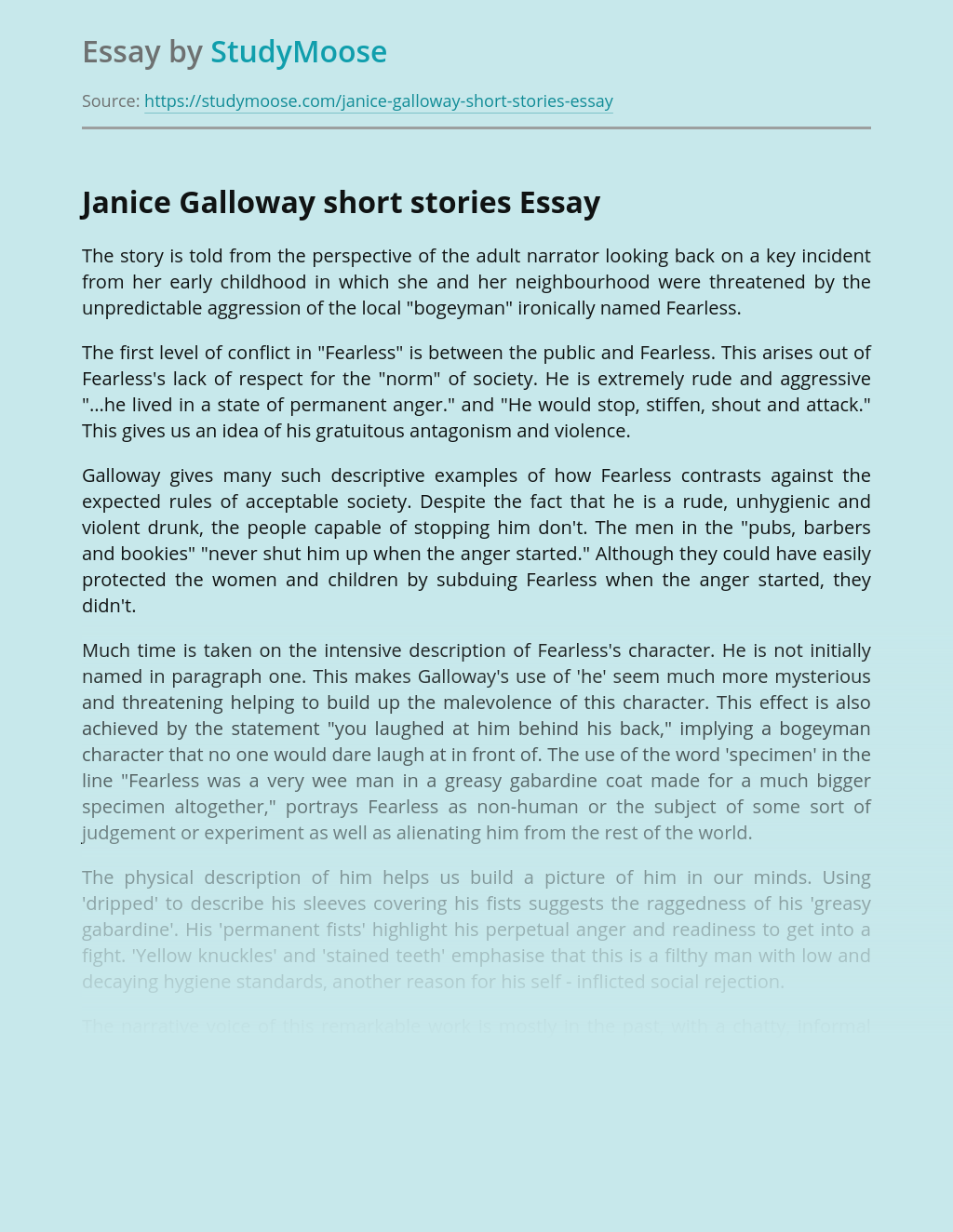Janice Galloway Short Stories