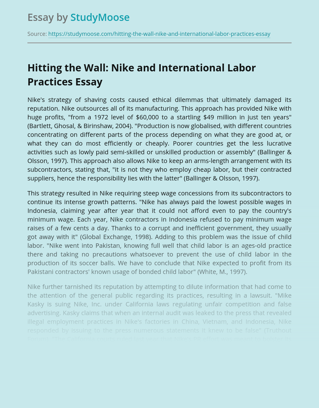 Nike's Outsourced Manufacturing