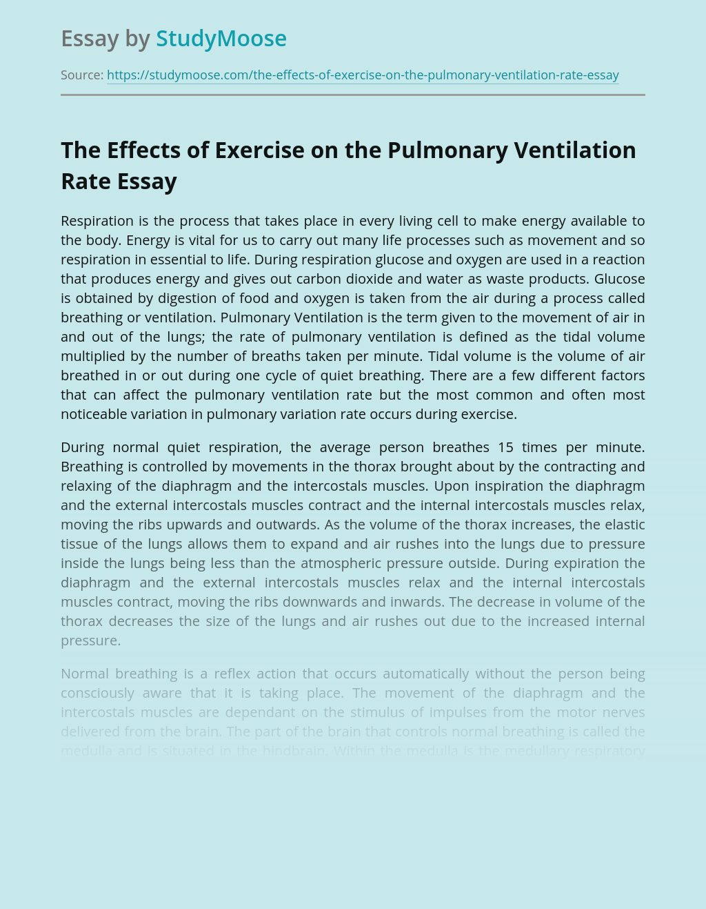 The Effects of Exercise on the Pulmonary Ventilation Rate