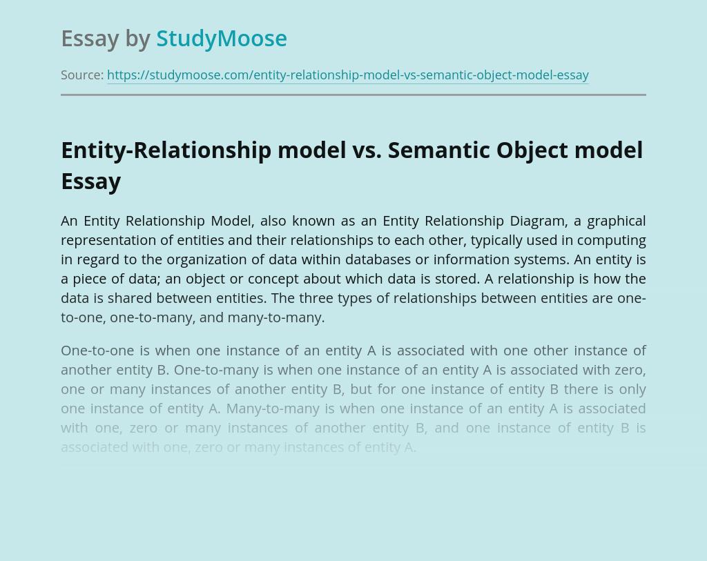 Entity-Relationship model vs. Semantic Object model