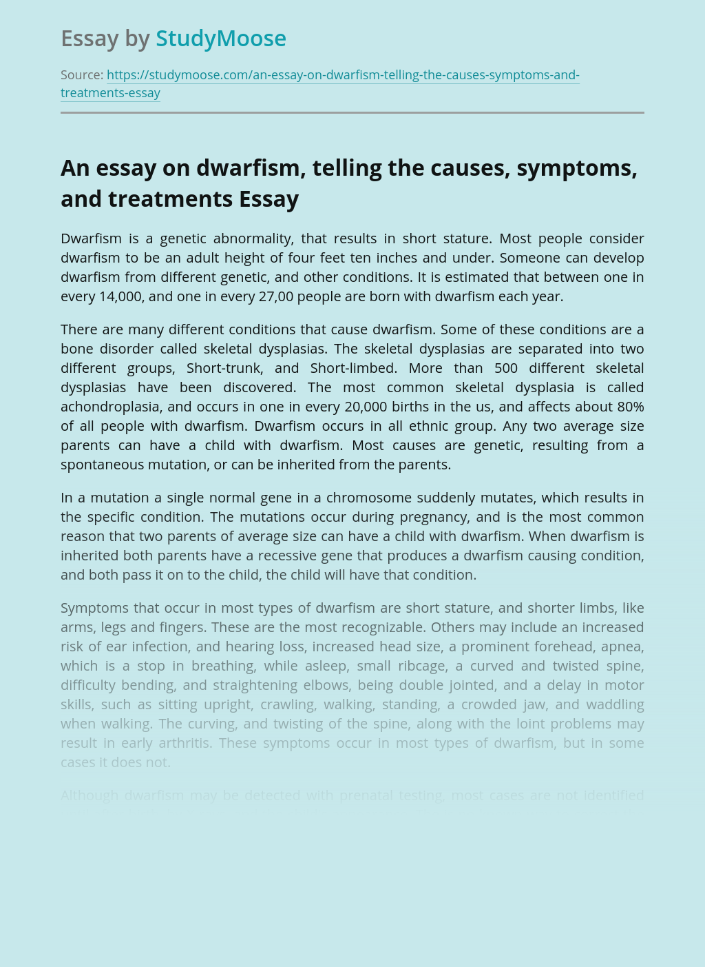 An essay on dwarfism, telling the causes, symptoms, and treatments