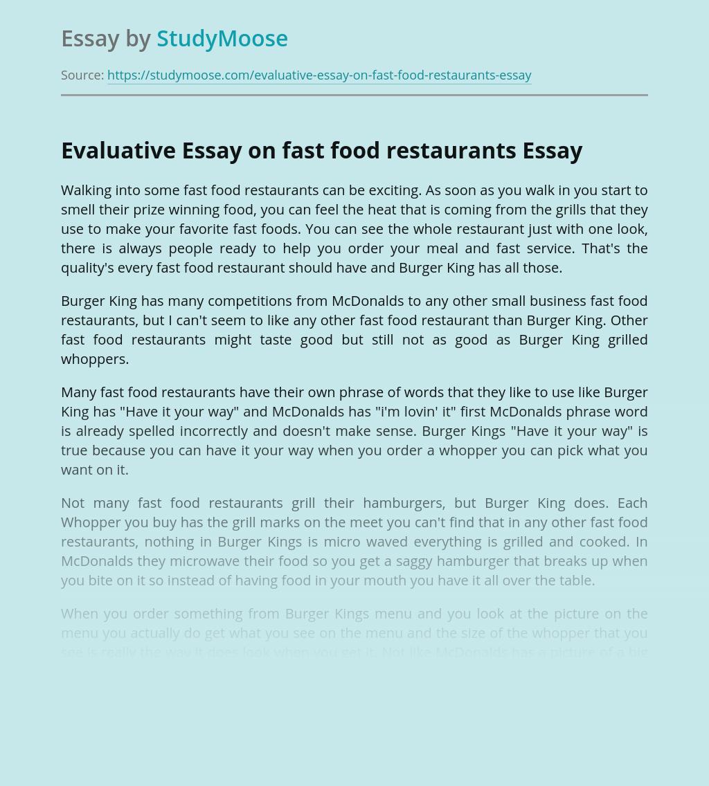 Evaluative Essay on fast food restaurants