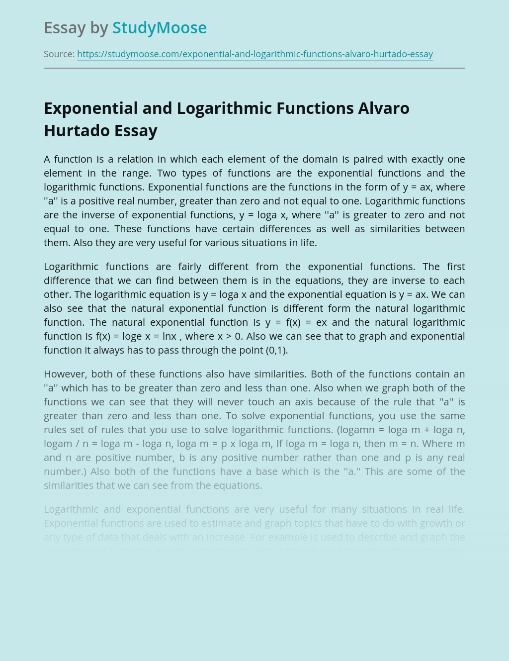 Exponential and Logarithmic Functions Alvaro Hurtado