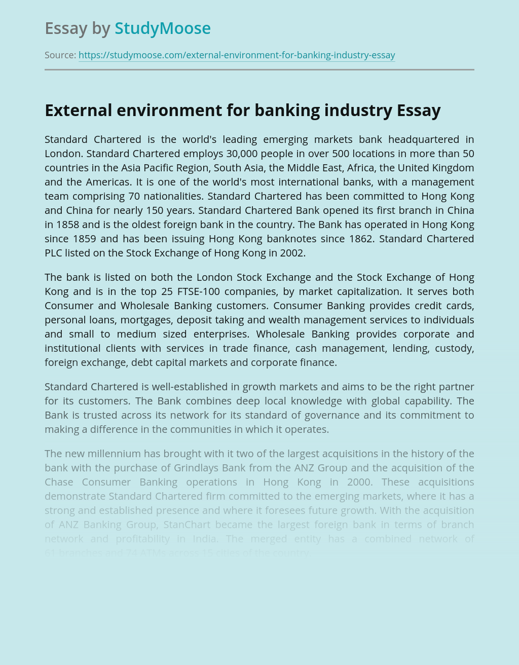 External environment for banking industry