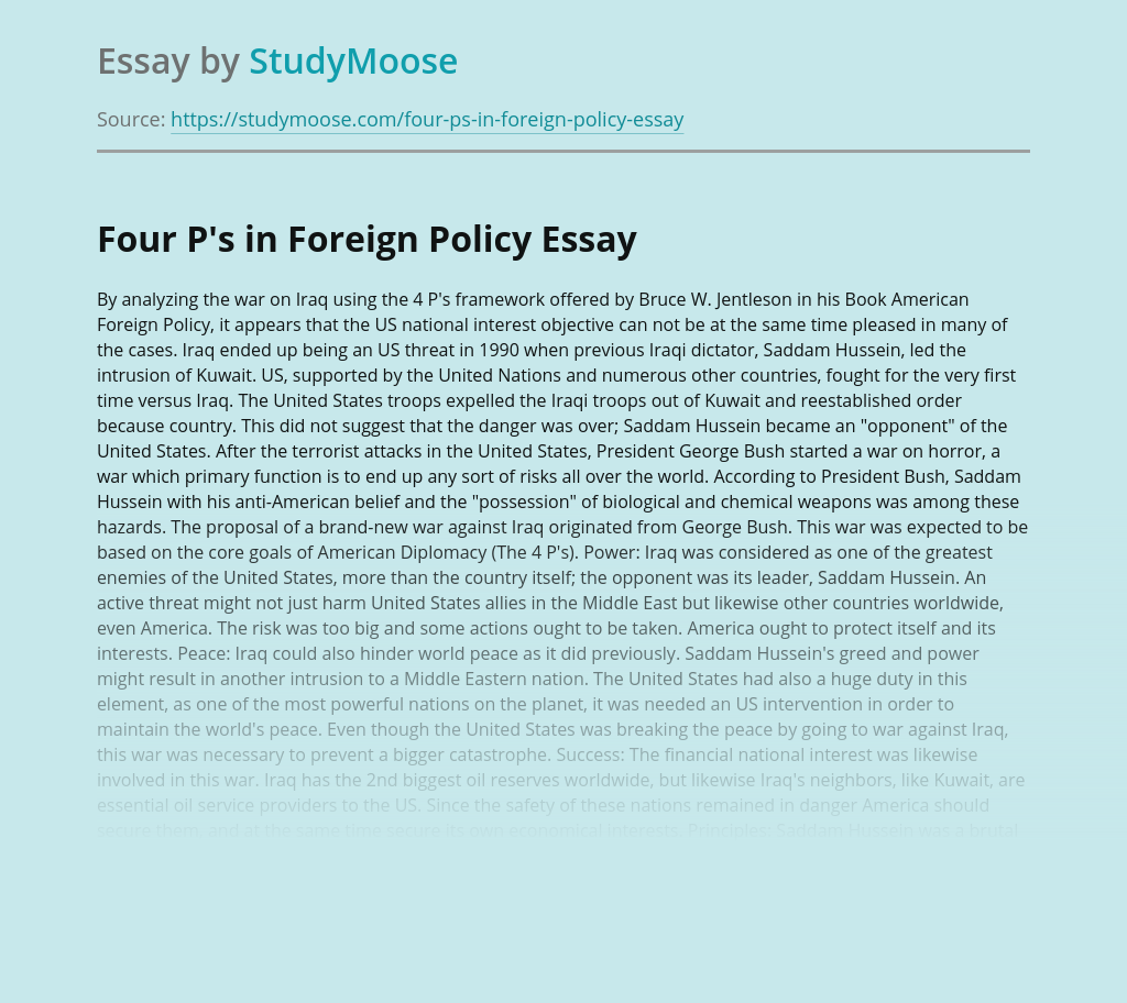 Four P's in Foreign Policy