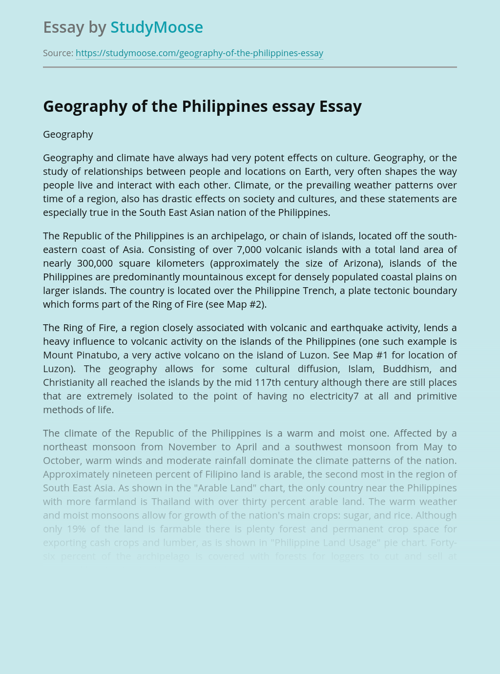 Geography of the Philippines essay
