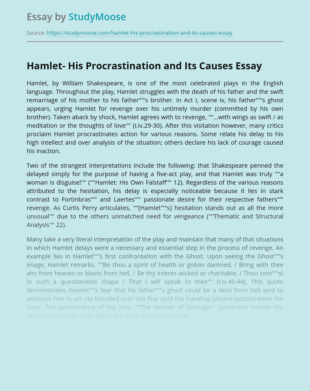 Hamlet- His Procrastination and Its Causes