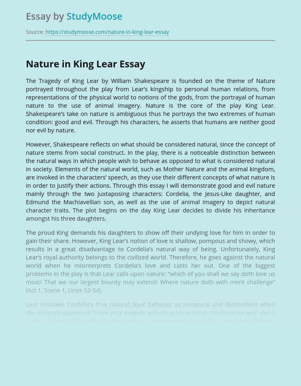 king lear thesis statements