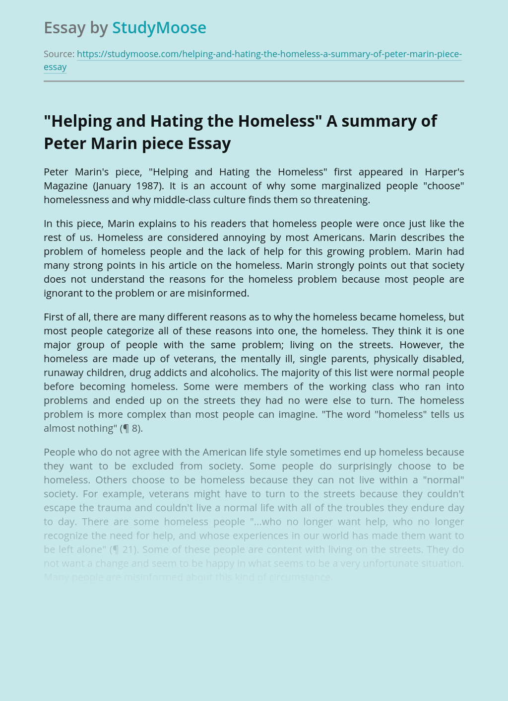 """""""Helping and Hating the Homeless"""" A summary of Peter Marin piece"""