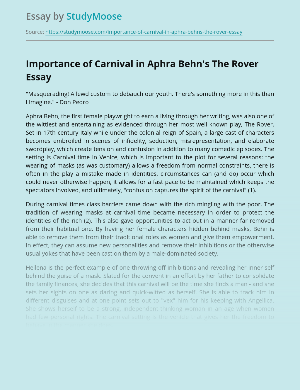 Importance of Carnival in Aphra Behn's The Rover