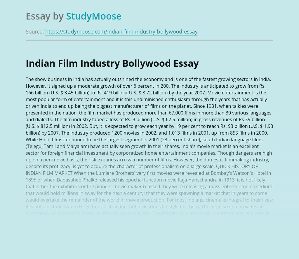 Indian Film Industry Bollywood