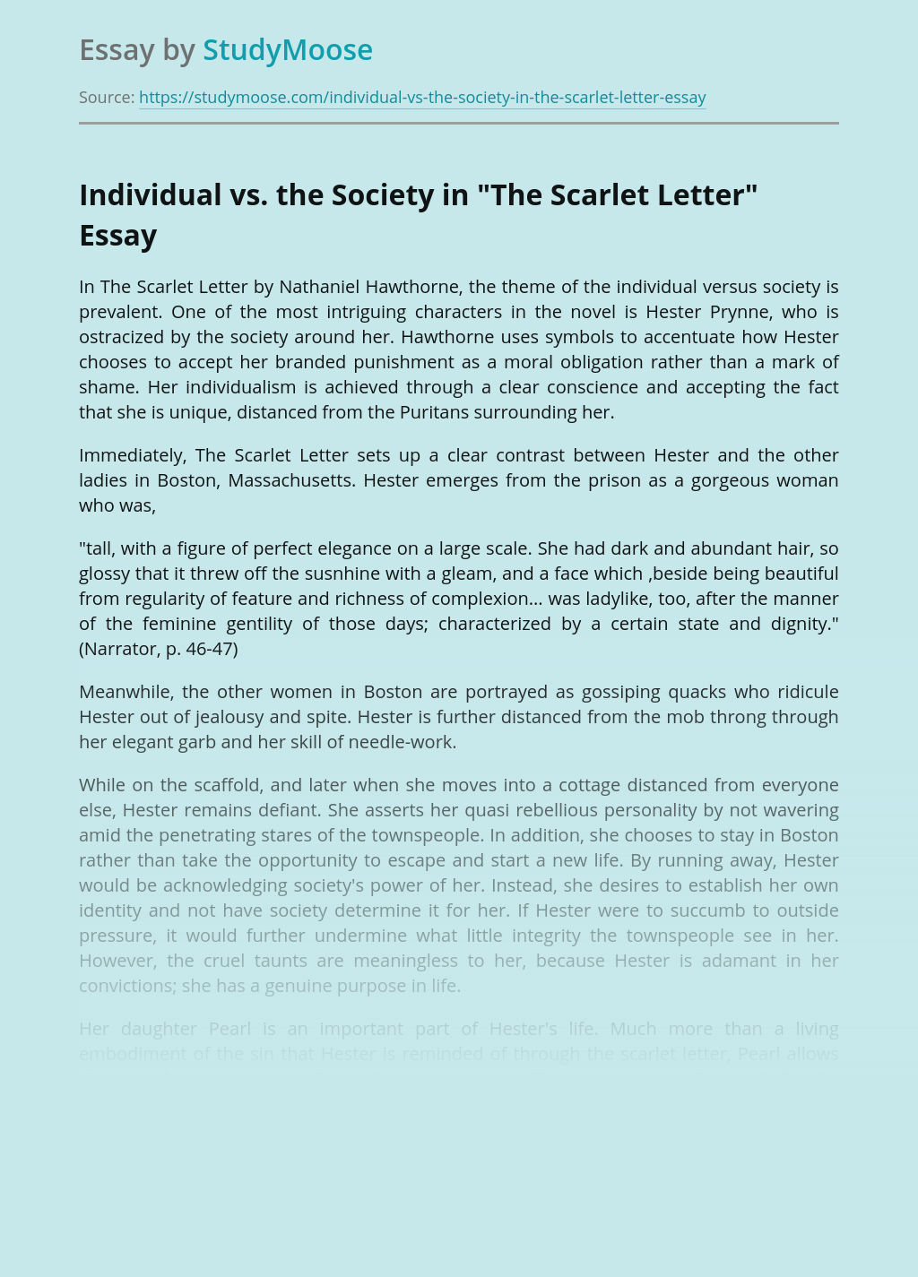 """Individual vs. the Society in """"The Scarlet Letter"""""""